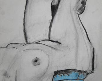 Recline, 18 x 13.5 charcoal drawing on acid free paper