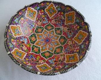 Turkish Ceramic Bowl, 10 inch bowl, serving bowl, raised floral design , purple and red bowl, fruit bowl, decorative bowl, wedding present