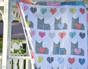 I Love Cats PDF Quilt Pattern, Digital Quilt Pattern, Halloween Quilt Pattern, Cat Quilt Pattern, Christmas Quilt