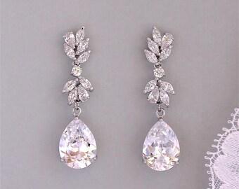 Bridal Earrings, Wedding Earrings, Crystal Earrings, Teardrop Earrings, ANNIE C