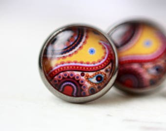 Boho earrings, 12 mm, flower, abstract, boho stud earrings, earrings paisley pattern, silver stud earrings