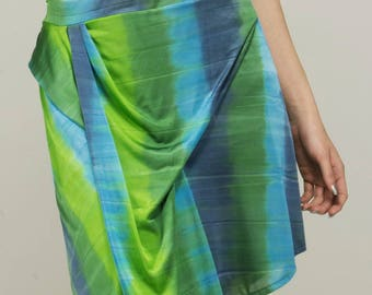 Smooth straight striped skirt satin short Aqua elastic waist