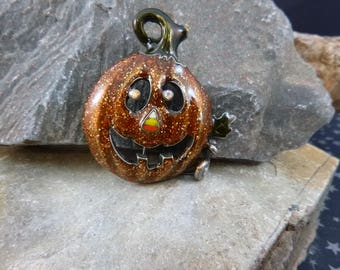 Happy Jack O Lantern Halloween Vintage Pin | Cute Sparkly Smiling Halloween Pumpkin Brooch