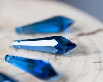 Sapphire Blue 8611 Swarovski 40mm Pendant Strass Point Pendant Blue Crystal Pendant Swarovski Icycle Faceted Crystal Drop Pendant Beads