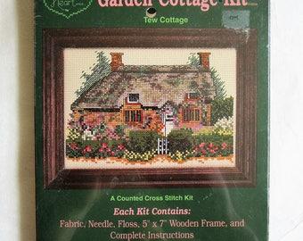 Cross My Heart Garden Cottage Cross Stitch 1990s NOS Tew Cottage CSK-352 Vintage 1994 Wood Frame DIY Kit