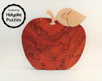 Apple Wood Jigsaw Puzzle - Wooden puzzle in Padauk and Maple - Teacher gift