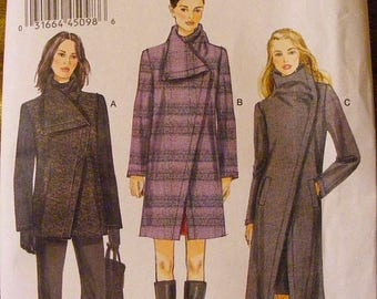 ON SALE 35% OFF Misses' Coat / Overcoat Semi Fitted Uncut Vogue Sewing Pattern 8933 Size 8 10 12 14 16