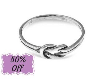Infinity Knot Ring, Double Knot Ring, Love Knot Ring, Lovers Knot Ring, Knot Ring, Silver Knot Ring, Sterling Silver Jewelry, Gifts For Her