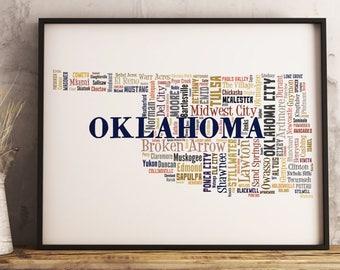 Oklahoma Map Art, Oklahoma Art Print, Oklahoma City Map, Oklahoma Typography Art, Oklahoma Poster Print, Oklahoma Word Cloud