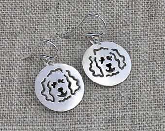 Doodle Disc Goldendoodle - Labradoodle Polished French Wire Earrings in Sterling Silver - Part of the Clyde Fundraiser Collection