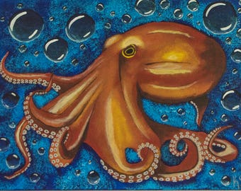 Orange Octopus Acrylic Painting with Bubbles 24 by 18 inches