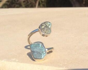 Raw Labradorite Silver Ring, Dual Gemstone Ring, Double Stone Ring, Adjustable Ring, Rough Labradorite Ring