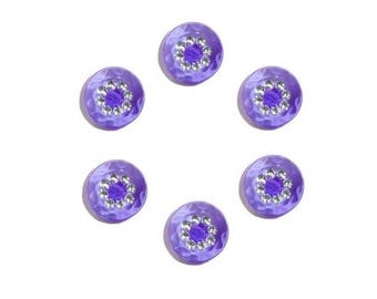 Purple 6 buttons 15 mm with Rhinestones