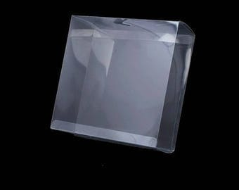 Box transparent plastic cover 13 x 13 cm for jewelry or sewing notions