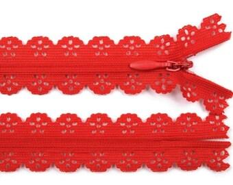 3 Red 16 cm lace zipper