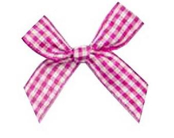 4 4 tiles cm pink & white gingham bows