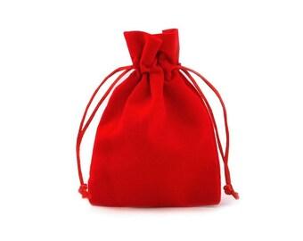 2 pockets 8 x 12 cm red velvet purses bags