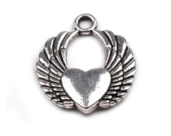 3 heart 20 x 22 mm silver angel wing charm