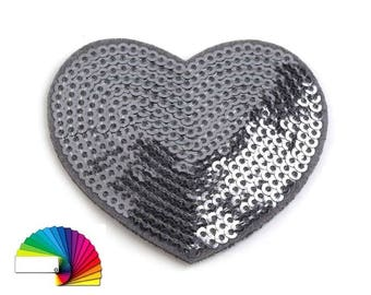 2 Iron on Patch Heart with sequins 5 cm