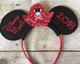 Minnie Pirate Hat in Red Pailsey and Black Ears with ship name and year on Mouse Ear Headgear.  Inspired by Minnie Mouse and Disney.