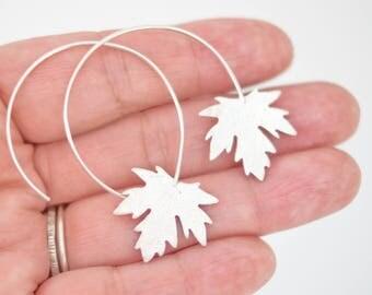 Earrings Maple Leaf in Sterling Silver, Handmade Earrings, Lightweight Earrings, Leaf Earrings, Side Earrings, Earrings, Unique.
