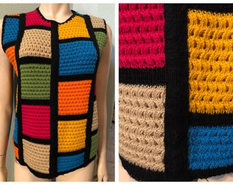 Groovy vintage 70's hand woven sleeveless top / one of a kind