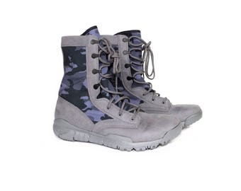"""NIKE SFB field boot 8"""" - blue camo combat boots  - suede leather - 8 uk / 42.5 eur / 27 cm / 9 us"""