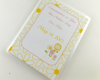 Mother's Day Gift Photo Album Baby Girl Grandmas Brag Book Personalized Present 4x6 or 5x7 Pictures Yellow Flower Floral 169