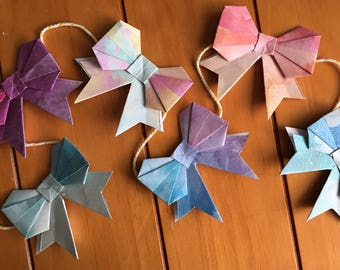 Water colour origami bow garland