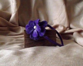 SALE Felt Flower Headband Dark Lavender Flower Hair Band Felted Flower Headband Floral Headband Woman and Girl Hair Accessories