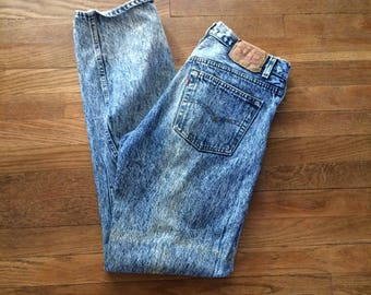 33 x 34 Levis 501 High Waist Acid Wash Vintage