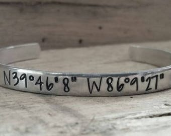 Custom Coordinates Bracelet - Personalized Bracelets for Women - Customized Bracelet - Stamped Bracelet - Personalized Stamped Bracelet