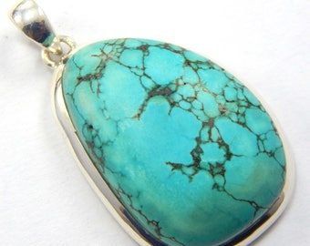 Offer 14.95 gm 925 sterling silver Turquoise Cabochon  Natural gemstone Pendent Jewelry 1.8 inch long Designer Pendant at best price.