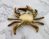 Vintage Brass Crab Paper Weight Figurine