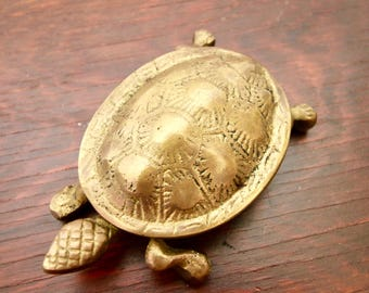 Vintage Brass Turtle Box With Hinged Lid Dish Tortoise Ash Tray Figurine