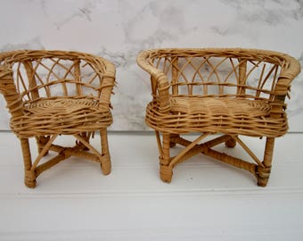 Pair of mini wicker chair sofa boho plant stands