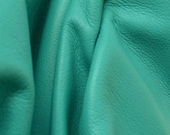 "Totally Teal ""Signature""  Leather Cow Hide 12"" x 12"" Pre-Cut  2-3 oz flat grain DE-52170 (Sec. 8,Shelf 3,D)"