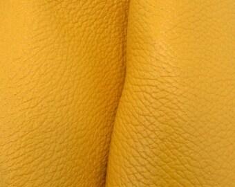 "Rustic Hello Yellow Leather New Zealand Deer Hide 12"" x 12"" Pre-cut 3-4 ounces-31 DE-66174 (Sec. 5,Shelf 7,B)"