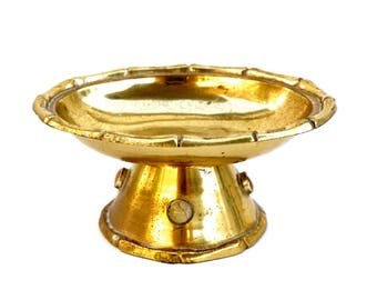 Vintage Brass Faux Bamboo Pedestal Soap Dish   Trinket Jewelry Dish Catchall    Solid Brass Bamboo Motif Inlaid Genuine Stones