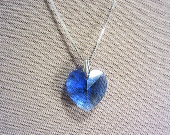 Vintage Blue Crystal Heart Pendant 18 Inch Sterling Necklace Chain