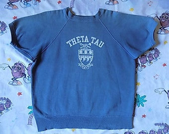 Vintage 60's/70's Theta Tau Fraternity short sleeved Pullover Sweatshirt, size Large