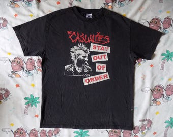 Vintage 90's The Casualties Stay Out Of Order T shirt, size Large street punk