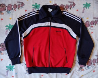 Vintage 80's Adidas Track Jacket, size Large Trefoil color block Full Zip