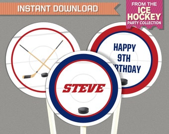 Ice Hockey Party Printable Birthday Labels - Hockey Birthday - Red Blue - INSTANT DOWNLOAD - Edit and print at home with Adobe Reader