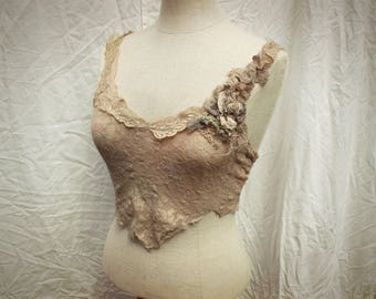 Tarnished Gold Pixie Top - Tattered sheer Lace shabby romance hand beading