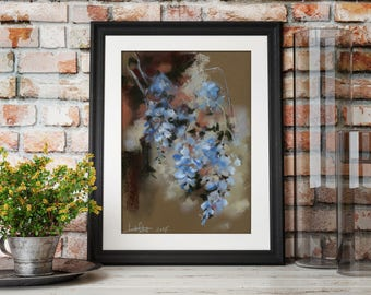 Wisteria Flowers Soft Pastels Drawing, Blue Flowers painting, Original Painting of wisteria flowers by CanotStop