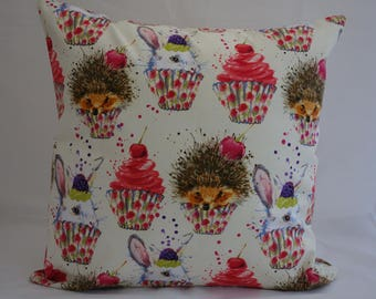 Pillow - Hedgehog / Rabbit / Cupcake design feature cushion, complete with cushion pad, zip fastening