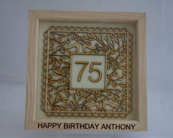 Personalised Birthday / Celebration, deep box picture frame / box frame - 18, 21, 25, 30, 40, 50, 60, 70, 75, 80, 90.