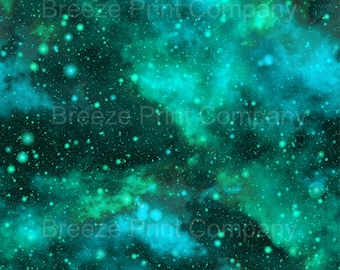 Galaxy pattern printed craft  vinyl sheet - HTV or Adhesive Vinyl -  aquas greens nebula space pattern  HTV5057