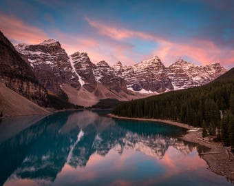 Moraine Lake Photography, Banff National Park, Lake Louise, Photograph, Glacier, Alberta, Canada, Sunrise, Wall Decor Fine Art